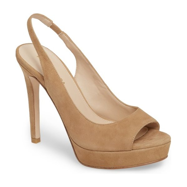 Pelle Moda oana slingback platform sandal in latte suede - Elevate your style quotient a couple inches with the...