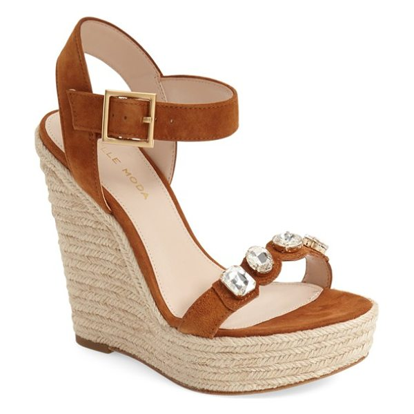 Pelle Moda 'olea' wedge sandal in cognac leather - Colorful crystals adorn the strap of a bold wedge sandal...