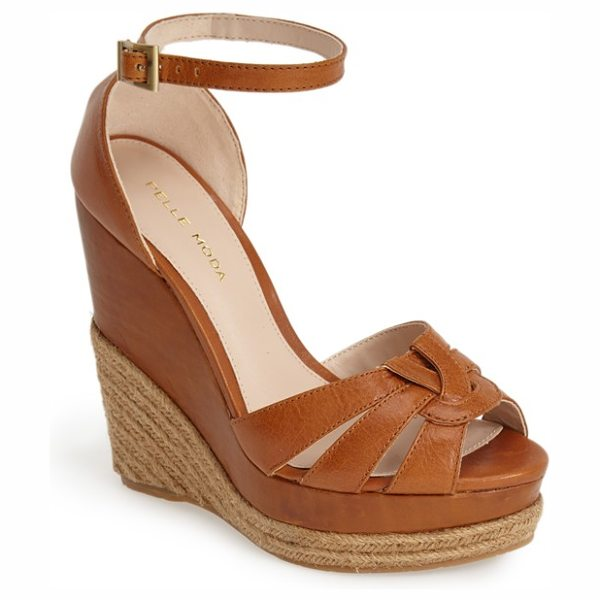 Pelle Moda olida espadrille wedge sandal in luggage - Woven leather straps across the vamp lend a...