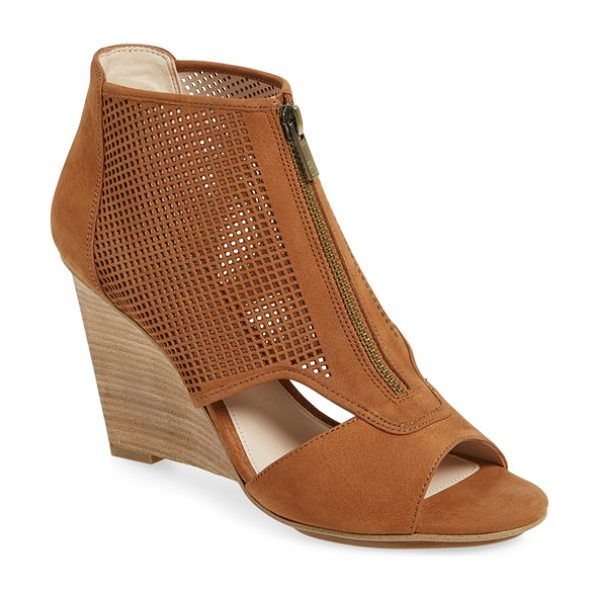 Pelle Moda 'oria' wedge bootie in luggage leather - A perforated upper and clean cutouts add ample modern...