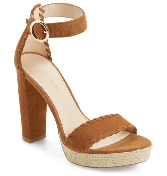 Pelle Moda palo ankle strap sandal in cognac leather - A jute-wrapped platform and a tall block heel elevate a...