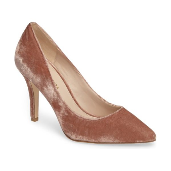 Pelle Moda vally2 pointy toe pump in blush fabric - Plush velvet adds dappled shimmer and texture to a...