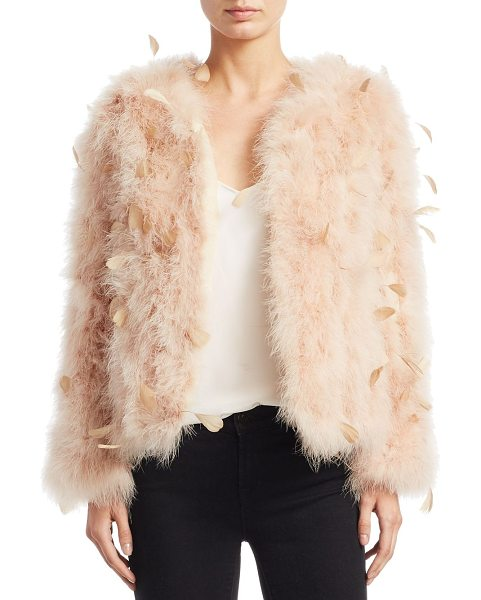 Pello Bello jacquard feather jacket in beige - EXCLUSIVELY AT SAKS FIFTH AVENUE. Plush feather jacket...