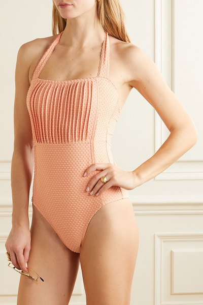 Peony pintucked swiss-dot stretch swimsuit in peach