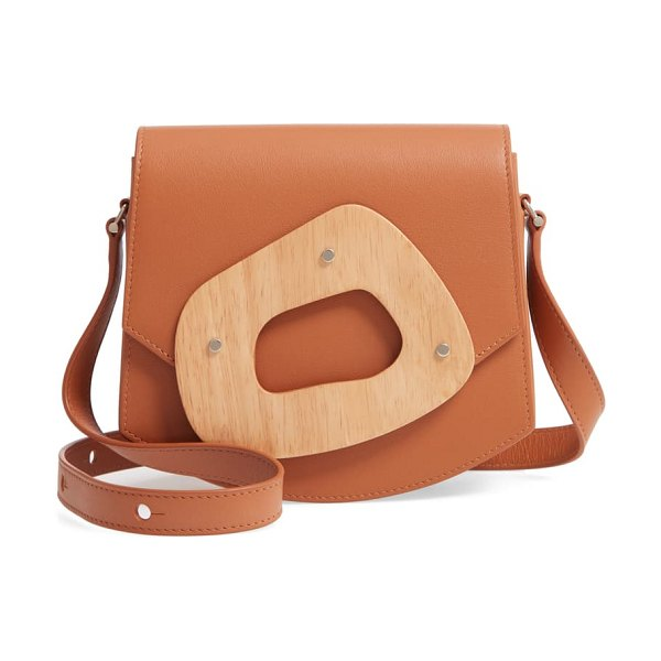 PERRIN le mini amorphe leather crossbody bag in brown