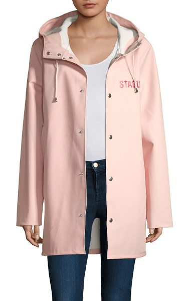 PERSPECTIVE pink stutterheim raincoat - Essential raincoat with advertising graphic at back....
