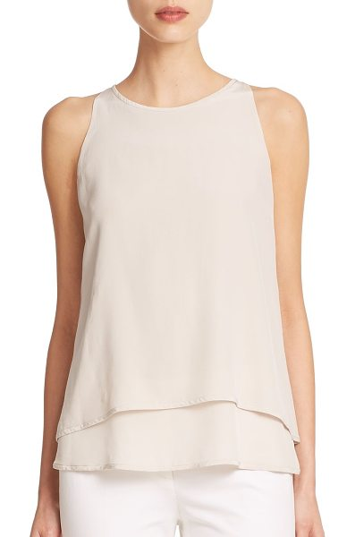 Peserico Fly away draped silk tank top in stone - This gorgeously draped, fluttering silk top is sure to...