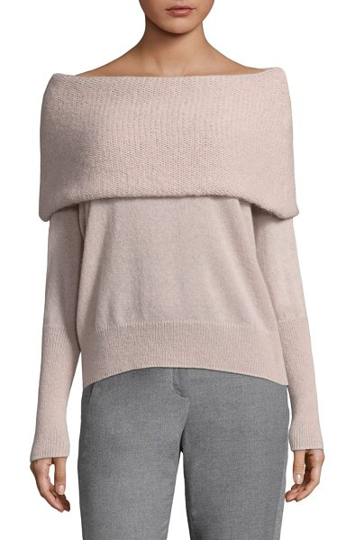 Peserico fold-over off-the-shoulder top in beige - Knit top designed with overlay detail at neckline....