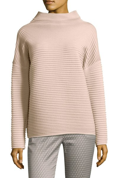 Peserico horizontal wool sweater in pink - Wool sweater with a wide rib texture. High neck. Long...