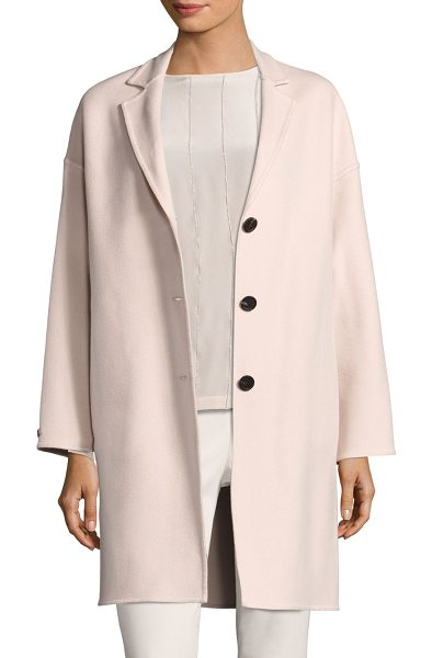 Peserico loro piana coat in rose - Wool-blend coat with a dropped shoulder style. Notch...
