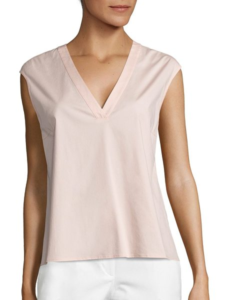 PESERICO sleeveless v-neck blouse - Elegant top fabricated from sumptuous cotton...