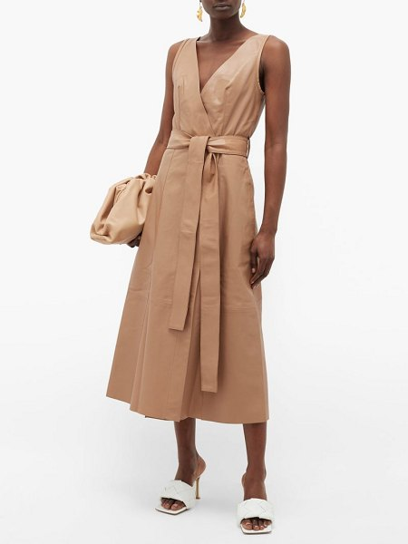 Petar Petrov awel wrap-front leather midi dress in brown