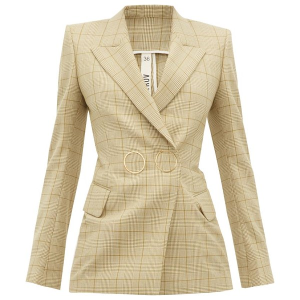 Petar Petrov joiner double-breasted checked wool jacket in brown multi