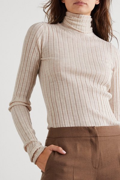 Petar Petrov karen ribbed merino wool turtleneck sweater in ecru