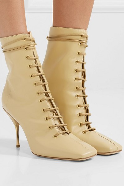 Petar Petrov stella lace-up leather ankle boots in beige - Petar Petrov's 'Stella' boots ground both a head-to-toe...