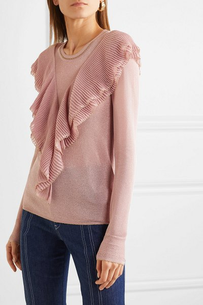 Peter Pilotto ruffled lurex top in pink
