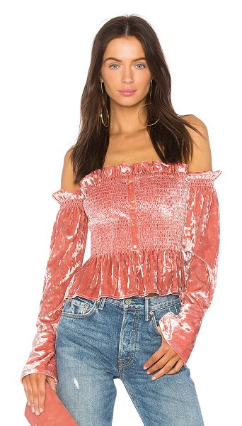 Petersyn Blaine Top in pink - Poly blend. Dry clean only. Elasticized neckline....