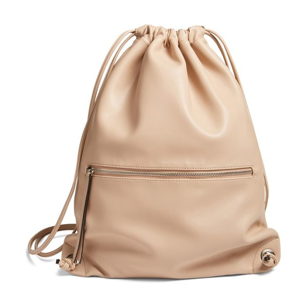 Phase 3 faux leather sling backpack in tan stucco