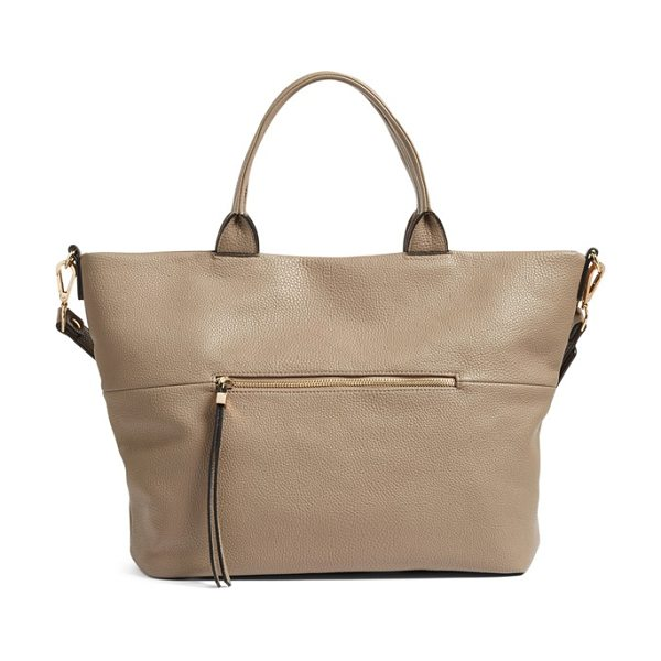 Phase 3 faux leather tote in grey taupe - A spacious tote is crafted from softly pebbled leather...