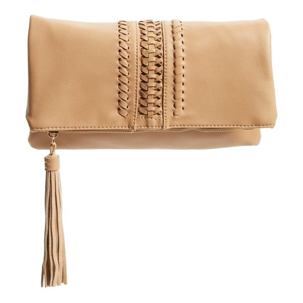 Phase 3 foldover clutch in tan camel - Huarache weaving and a tasseled zip pull add extra hints...