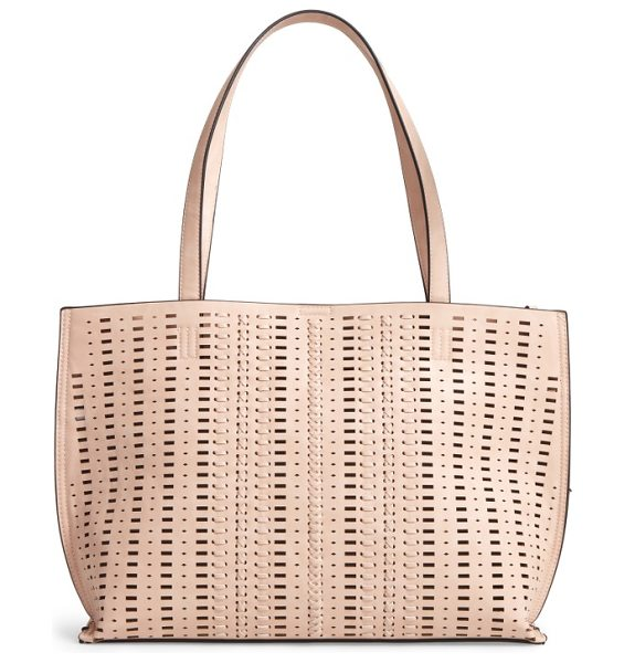 Phase 3 woven faux leather tote in blush - Woven details bring a Southwestern feel to a versatile...
