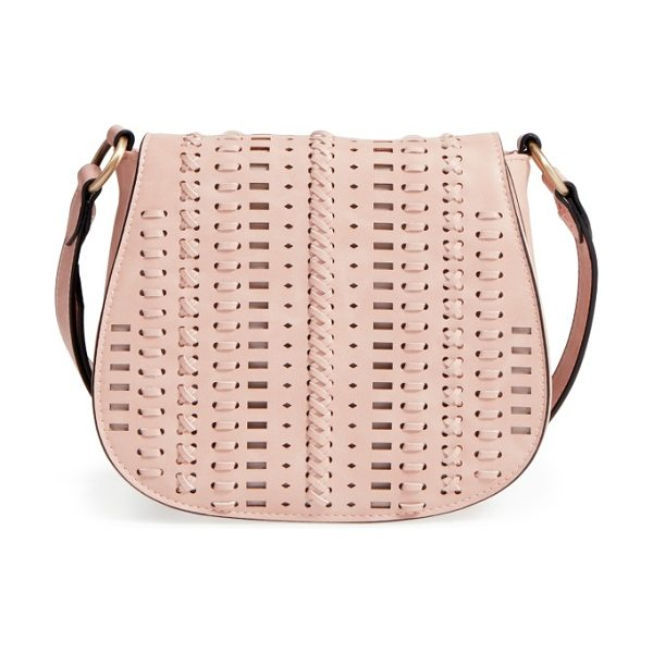 Phase 3 woven saddle bag in pink scallop - Woven details enhance the Southwestern style of a chic...