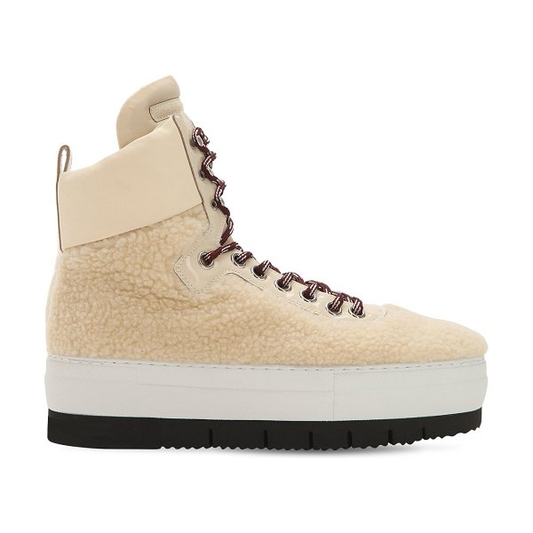 Philippe Model Adele faux shearling high top sneakers in khaki - Reinforced eyelets. Rope laces. Faux leather details ....