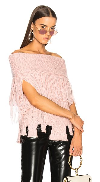 Philosophy di Lorenzo Serafini Off the Shoulder Knit Top in pink - 68% alpaca 22% polyamide 10% virgin wool. Made in Italy....