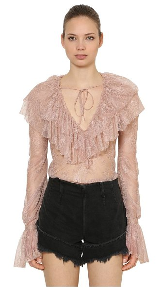 Philosophy di Lorenzo Serafini Ruffled floral lace blouse in pink
