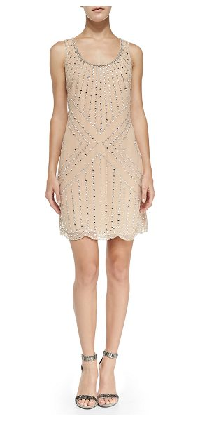 Phoebe by Kay Unger Beaded pattern shift cocktail dress in champagne - Phoebe by Kay Unger beaded cocktail dress. Scoop...
