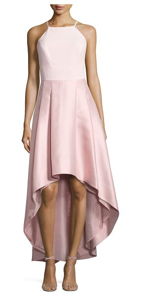 Phoebe Pleated Halter-Neck High-Low Dress in blush - Phoebe dress with pleated high-low flare skirt. Approx....