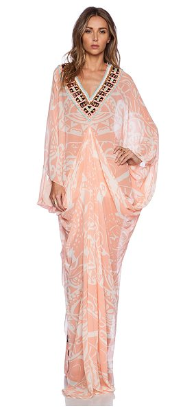PIA PAURO Ladies embroidered printed kaftan - 100% silk. Dry clean only. Embroidered neckline with...