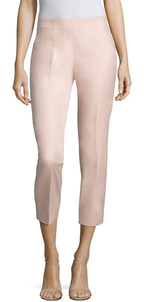 Piazza Sempione audrey cropped pants in pink - Cropped stretch-cotton pants in slim silhouette. Self...