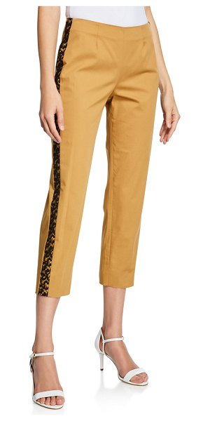 Piazza Sempione Audrey Lace-Trim Cotton Pants in brown