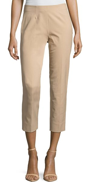 "Piazza Sempione Audrey Stretch-Cotton Cropped Pants in khaki - Piazza Sempione ""Audrey"" pants in stretch cotton...."