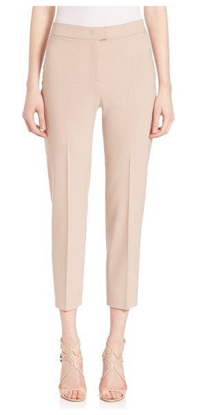 Piazza Sempione coin pocket brigitte capri pants in blush - Sleek cropped style in luxe wool-blend finish. Banded...