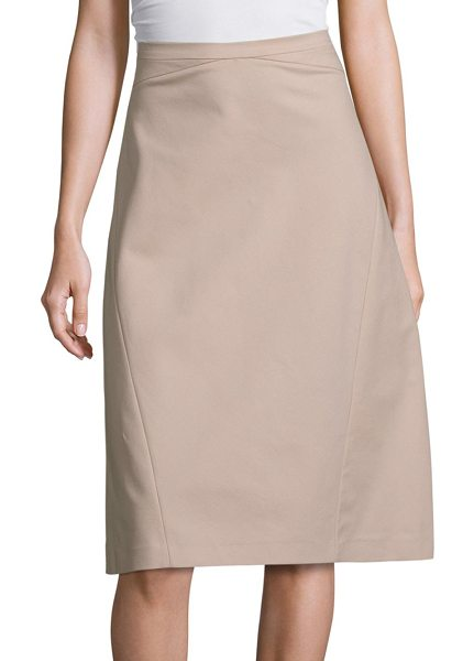 Piazza Sempione cotton a-line skirt in sand - Solid cotton skirt in a classic A-line silhouette....