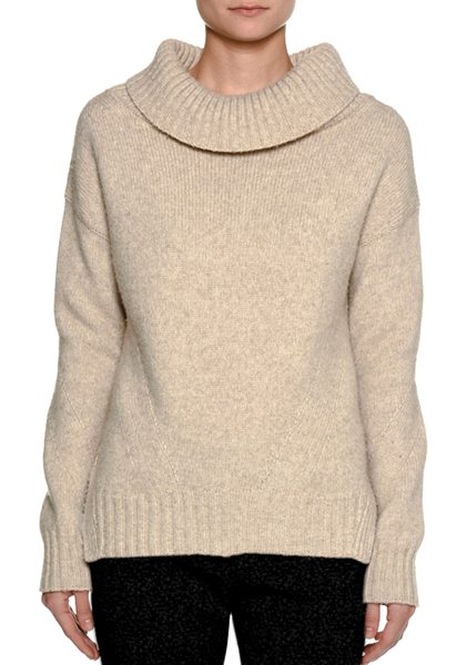 Piazza Sempione Cowl-Neck Wool-Nylon Sweater in beige - Piazza Sempione sweater in heathered knit. Ribbed...