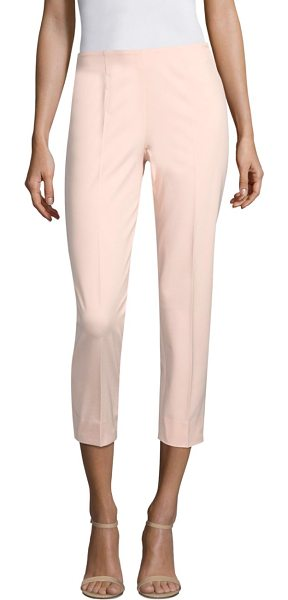 Piazza Sempione cropped cotton-blend pants in pink - Cropped cotton pants with notched hems. Concealed zip...