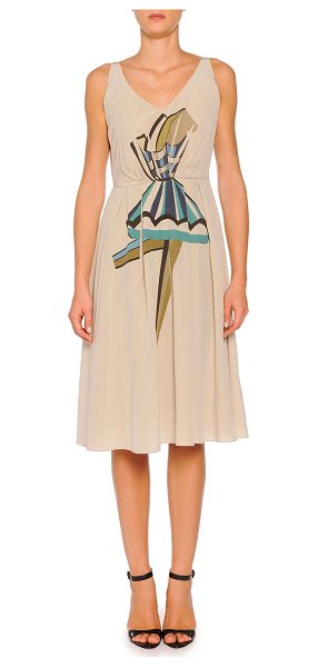 PIAZZA SEMPIONE Silk pleated ballerina print dress -  Piazza Sempione tank dress with ballerina graphic....