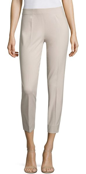Piazza Sempione straight leg pants in beige - Cotton-blend pants in a straight leg fit. Concealed zip...