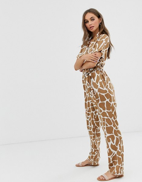 Pieces abstract animal print jumpsuit-tan in tan