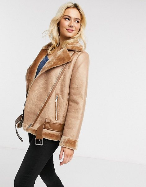 Pieces aviator jacket in tan in tan