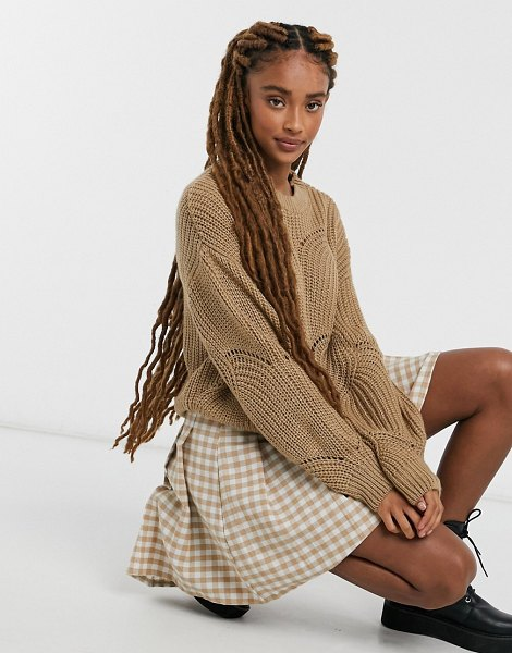 Pieces cable sweater in camel-beige in beige