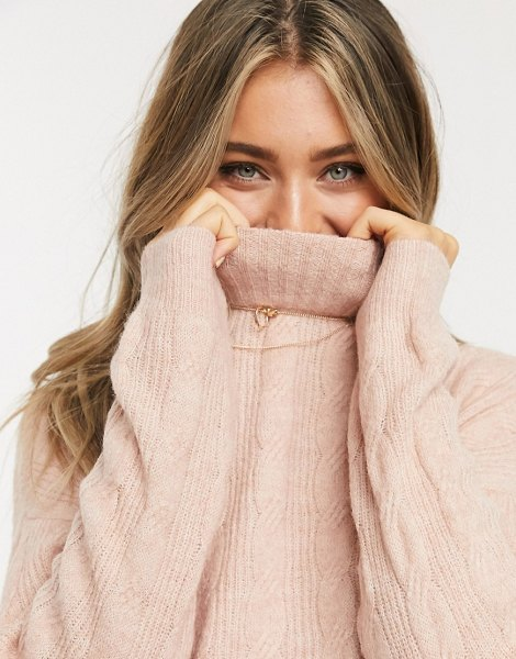 Pieces cable sweater with high neck in pink in pink