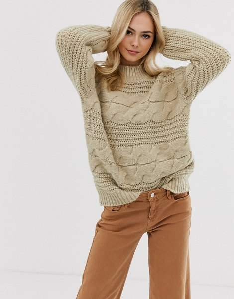 Pieces chunky cable knit oversized sweater in beige in beige