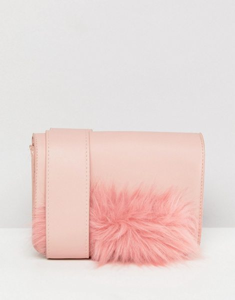 Pieces Faux Fur Panel Camera Bag With Crossbody Strap in pink