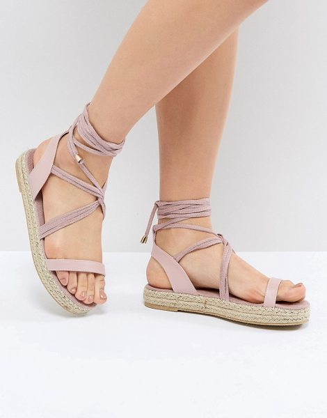 PIECES Espadrille Sandal in pink - Espadrilles by PIECES, Lace-up fastening, Open toe, Show...