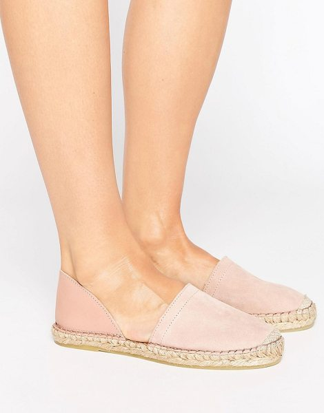 Pieces Jasha Blush 2 Part Suede Espadrilles in pink - Espadrilles by Pieces, Leather upper, Slip-on style,...