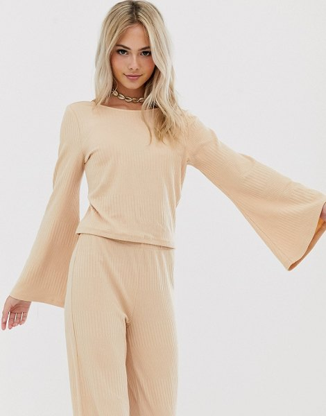 Pieces jersey rib top with flared sleeve in toastedalmond